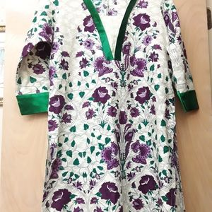 Green Purple Silk Boho Dress L  XL Tunic Kaftan